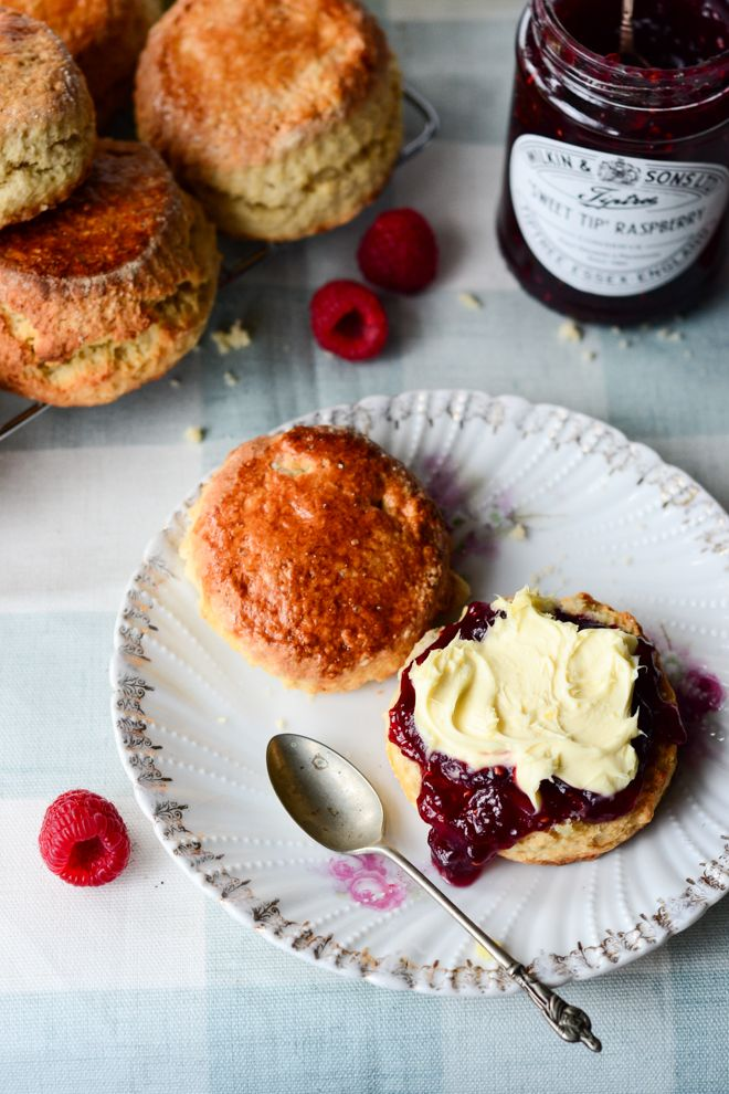 British scones with jam and clotted cream