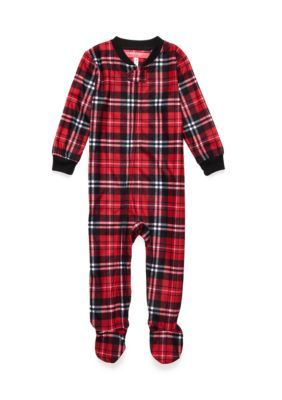 Holiday Cheer Traditional Plaid Blanket Sleeper Infant - Red Plaid - 12 Months