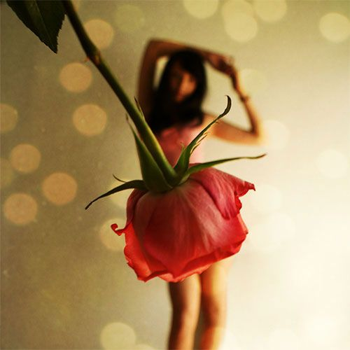 cute shotPhotos, Rose, Force Perspective, Optical Illusions, Art Photography, Flower Dresses, Pop Music, Perspective Photography, Flower Skirts