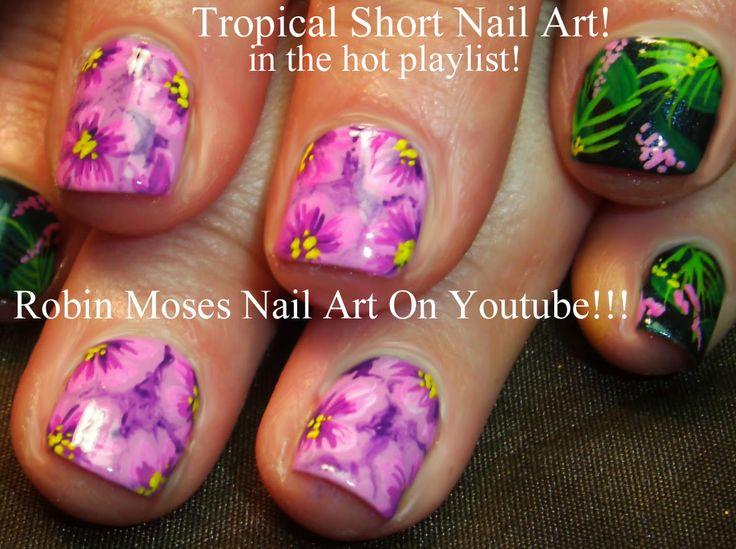 """rainforest nail art"" ""forest nail art"" ""jungle nail art"" ""tropical nail art"" ""vacation nail art"" ""nail art"" ""orchid nail art"" ""hibiscus nail art"" ""tropical flower nails"""