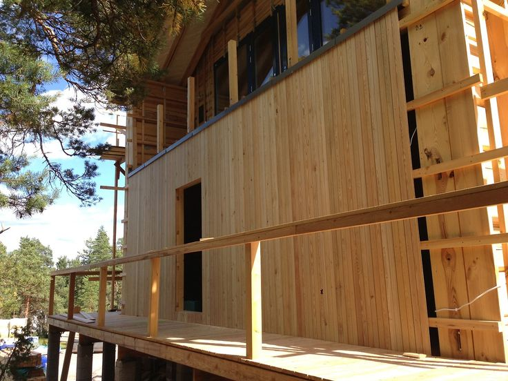 Building of outside walls. Panel is from Larch.