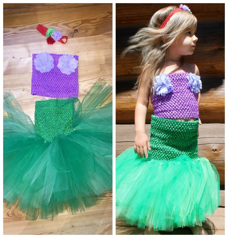 DIY Mermaid Tutu Dress TutorialHalloween is just around the corner and we have the perfect costume for all the little mermaid Ariel's out there! Here is a step by step tutorial done by one of our awesome customers, Brittany.Supplies needed:2-rolls of kelly green tulle 1- roll of lime green tulle 1- 9 in lined tutu top in purple 1- 10 in lined tutu top in kelly green 2- folded petal fabric flowers in lavender 1- petite shabby flower in lime gr...