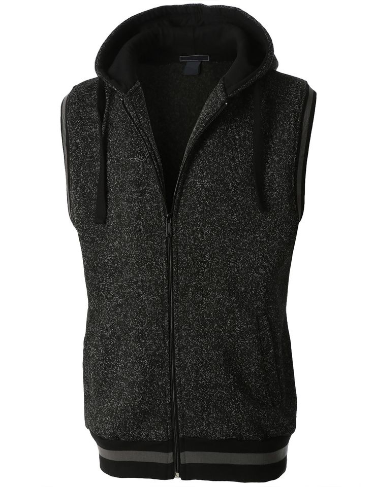 LE3NO Mens Casual Brushed Fleece Full Zip Up Sleeveless Hoodie Vest