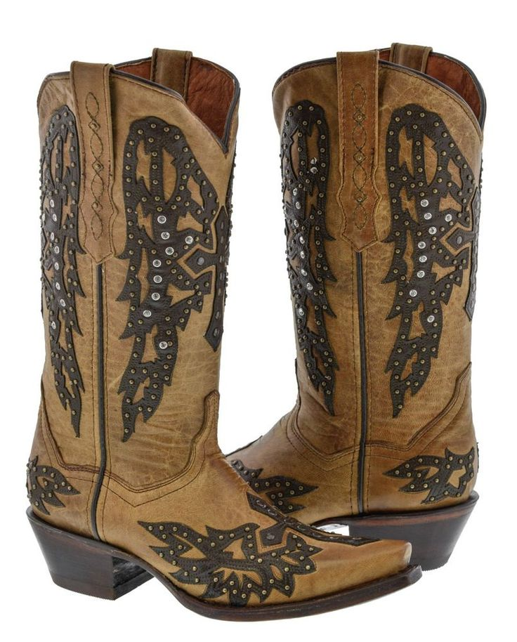 Womens Light Brown Studded Cross Wings Design Leather Cowboy Cowgirl Boots | eBay