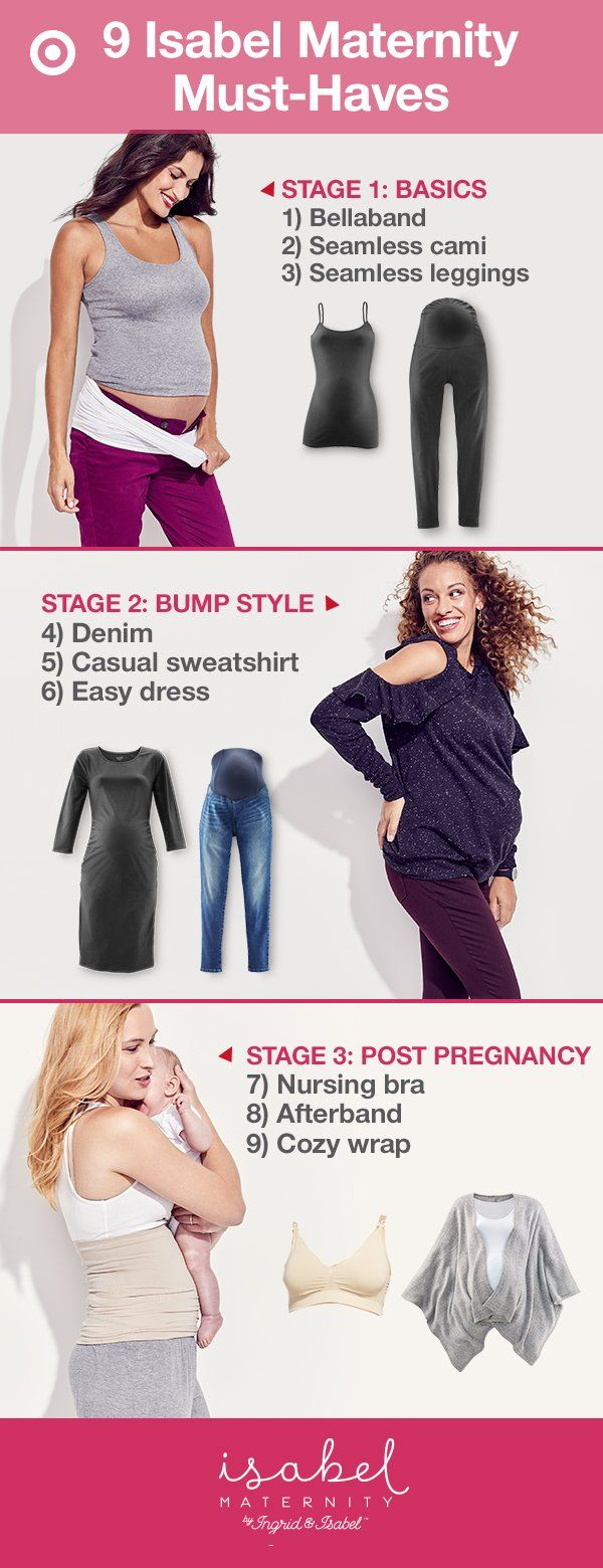Isabel Maternity has clothes perfect for each stage of pregnancy and after. Stage 1: Extend the life of your pre-pregnancy clothes with Bellaband for Target. It allows your bottoms to stay unbuttoned, while you stay covered. And, leggings and camis are great for your growing belly. Stage 2: Maternity jeans and dresses make dressing your bump extra fun. Stage 3: Baby's here! Soft wraps and nursing bras keep dressing easy, and the Afterband for Target provides extra support. New & only at…