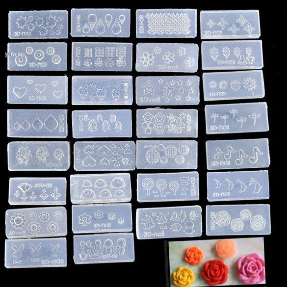 Mais barato! 30 pcs acrílico 3D Nail Art Mold para Nail Art Design decoração DIY SET Drop Shipping b014 alishoppbrasil