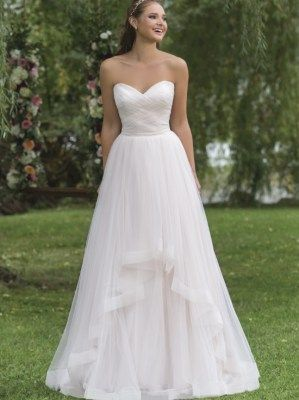 Beautiful A-line wedding gown with tulle overlay and stunning sweetheart neckline, style 6158 by Sweetheart- Justin Alexander