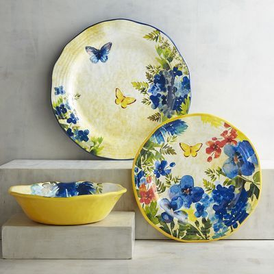 At first glance, you'll think our Butterfly Floral Dinnerware, with its gorgeous details and irregular edges, is handcrafted of porcelain. But pick up a piece and you'll discover it's actually melamine, which means it's shatter-resistant and perfect for outdoor use.