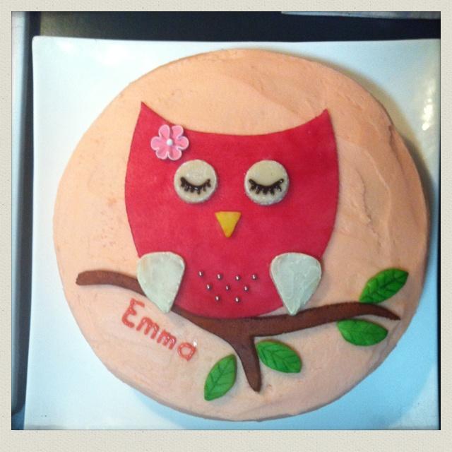 Emma's Owl 1st birthday cake