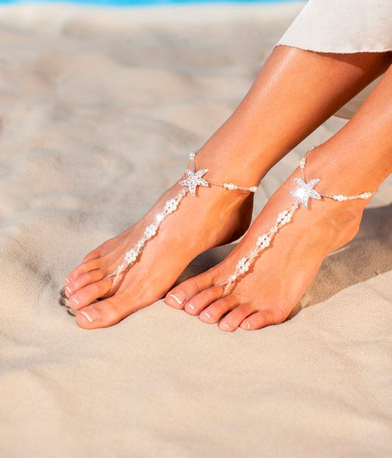 Sandali a piedi nudi in rilievo nuziale piede di BarmineClub