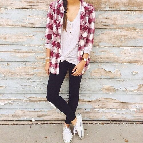 nice Plaid. Baby pink tee shirt. Leggings. Casual.... by http://www.redfashiontrends.us/teen-fashion/plaid-baby-pink-tee-shirt-leggings-casual/