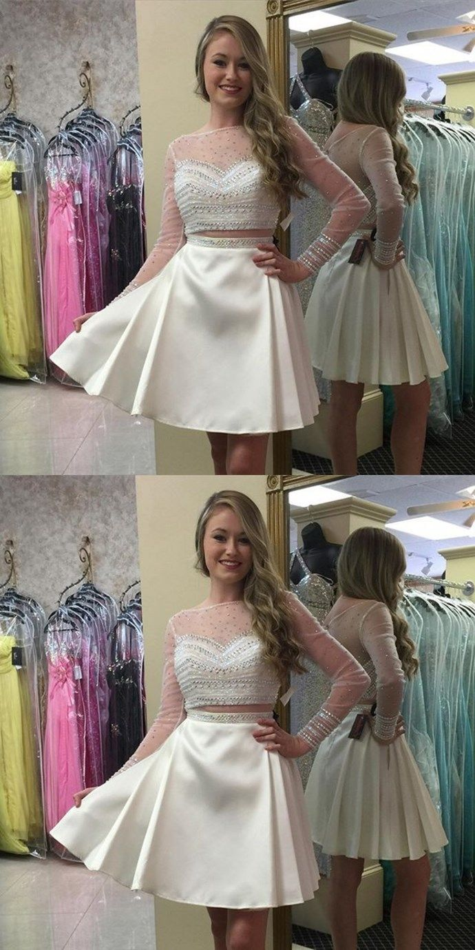 White Homecoming Dress with BeadingCute Homecoming Dress with Long
