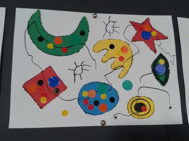 Punxant elements i fent composicions a l estil Miró. P3 Escola Sant Pau/Figueres