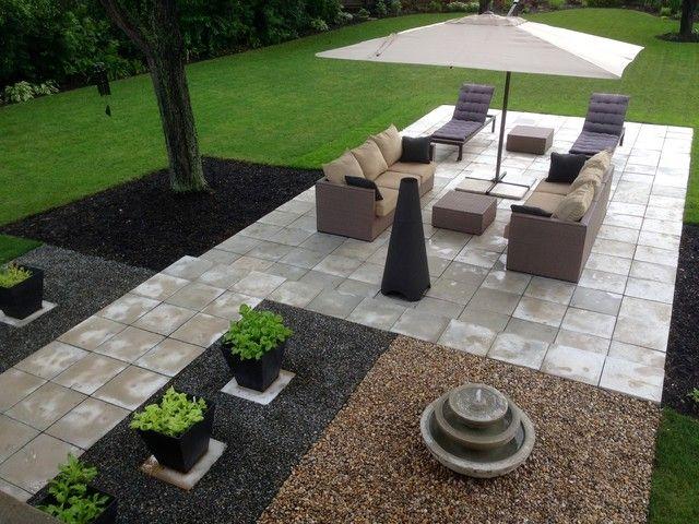 Wonderful Allen And Roth Patio Furniture Patio Modern With Concrete Paver Gravel Large  Umbrella Modern Modern Landscape