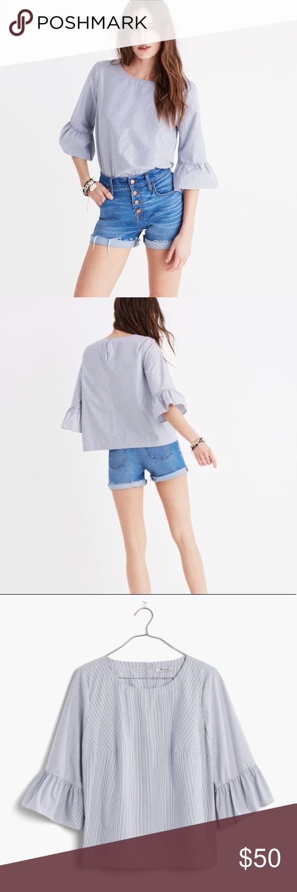 I just added this listing on Poshmark: Madewell Stipped Bell Sleeve Top. #shopmycloset #poshmark #fashion #shopping #style #forsale #Madewell #Tops