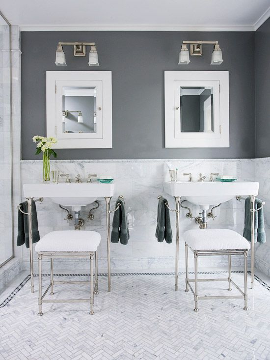 Very pretty gray and white bathroom.