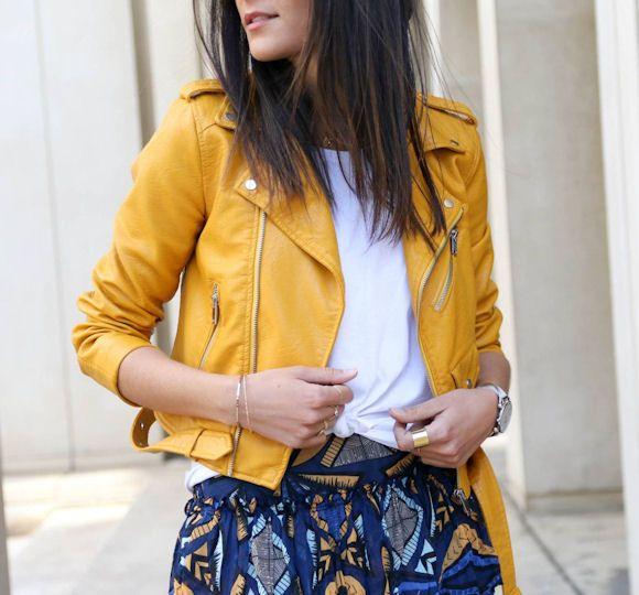 Tenue avec une veste biker jaune >> http://www.taaora.fr/blog/post/blouson-biker-cuir-jaune-idee-de-look #ootd #look