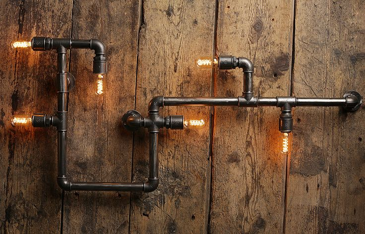 steampunk lampe industrial design metall wasserrohr wandlampe water pipe lamp by. Black Bedroom Furniture Sets. Home Design Ideas