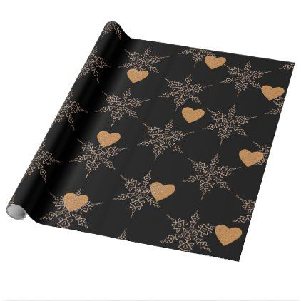 Black Rose Gold Colored Christmas Wrapping Paper - rose style gifts diy customize special roses flowers