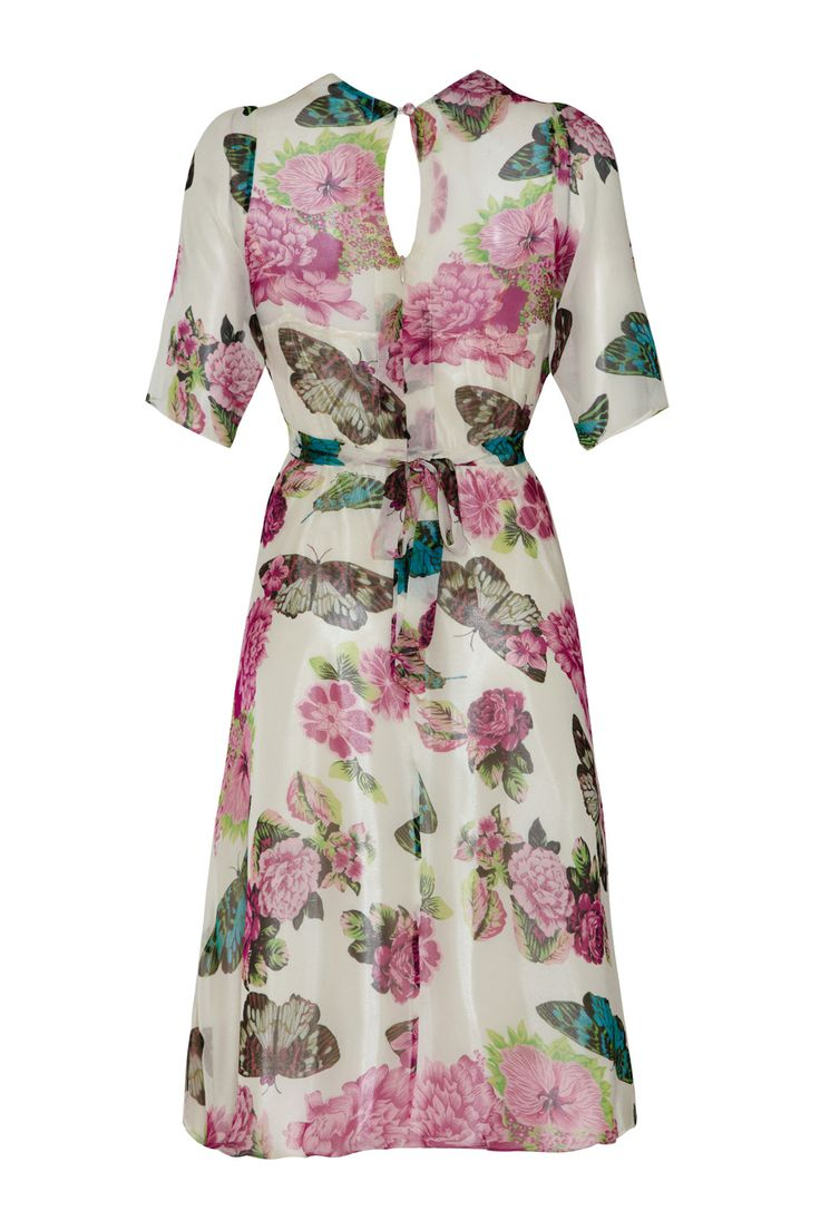 Tee Kleid In Elfenbein Schmetterling Georgette   – Products