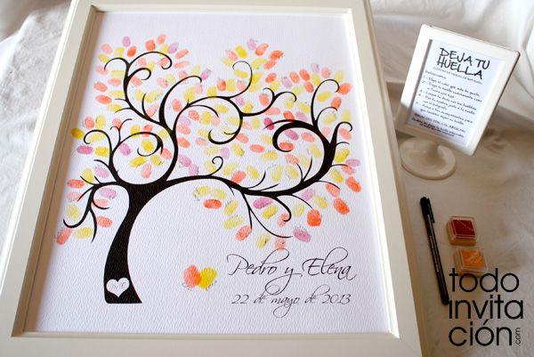 Cuadro de firmas con huellas para invitados www.todoinvitacion.com