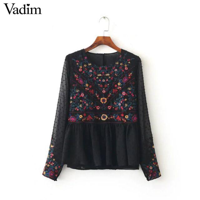 Женщины урожай цветочные вышивка плиссированные шифоновые рубашки прозрачный сексуальный точки с длинным рукавом ретро блузка повседневная топы blusas LT1371
