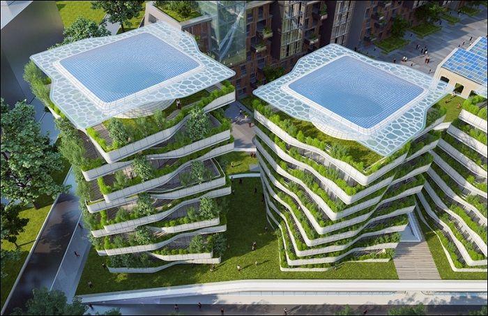 Жилые дома с вертикальными садами.
