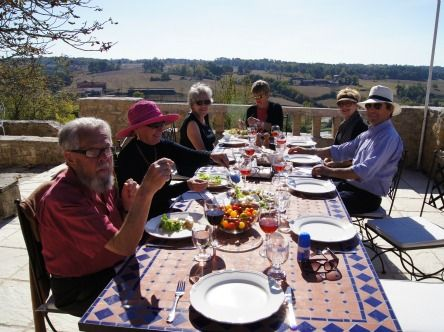 Lunchtime! Sitting in brilliant early October sunshine on the west terrace. The superb ingredients for our dishes were all gathered from the Villereal market that morning.