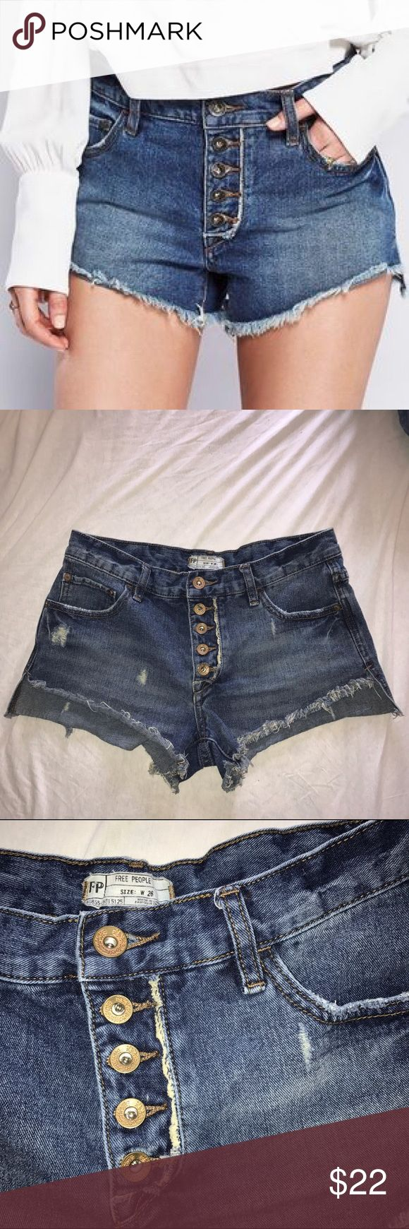 Free people runaway slouch cutoffs jean shorts Boho chic slouchy fit cut off shorts. Distressed medium wash jean shorts. Side skits - longer in the back. In very nice preowned condition! Free People Shorts Jean Shorts