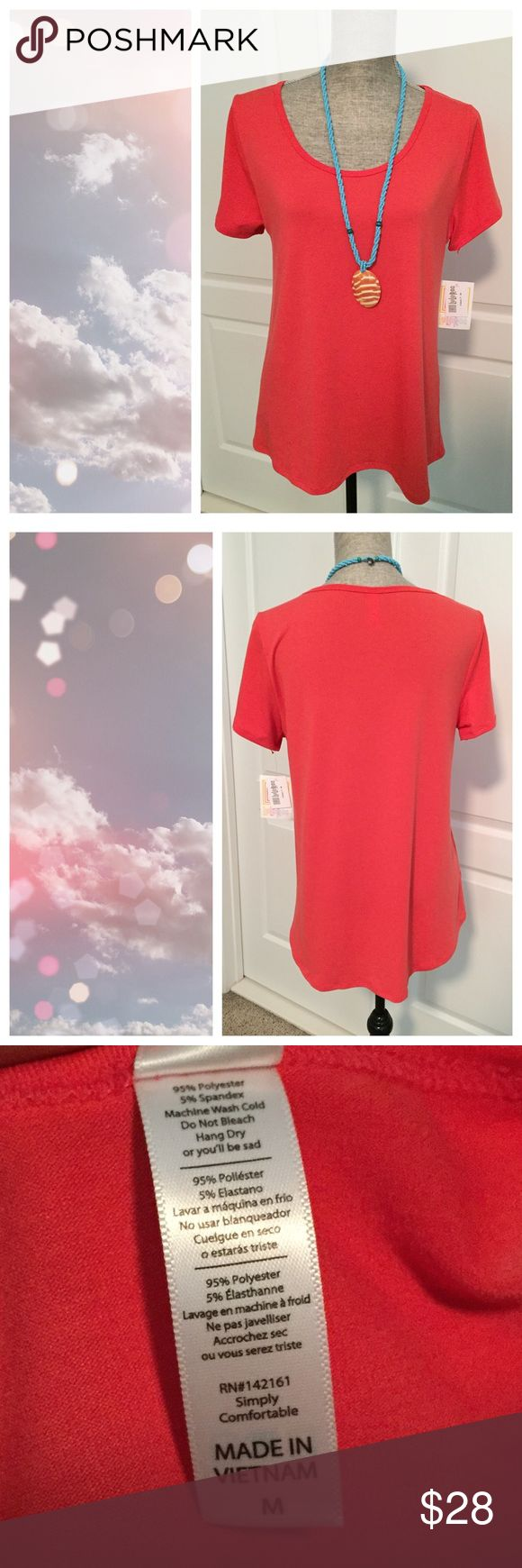 BNWT LuLaRoe Classic Tee - Rare Solid! Pink! Brand New With Tags  The color isn't coming across right in the picture.  It's a beautiful coral pink color. Sort of a slinky material, not cottony.   Necklace solid separately - bundle it with this top and save 10% automatically!  ✔️Bundle and save 📦 ✔️Reasonable offers welcomed ❤ ✔️Dog friendly home 🐶 ✔️Mail quickly 📫 ❌No trades 👎🏼 ❌No modeling 🙈 ❌Cat free home 🐱 ❌Smoke free home 🚭 LuLaRoe Tops