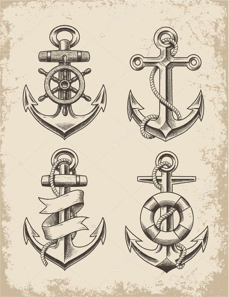 Conjunto de ancoragem de mão desenhada — Ilustração de Stock #44111073