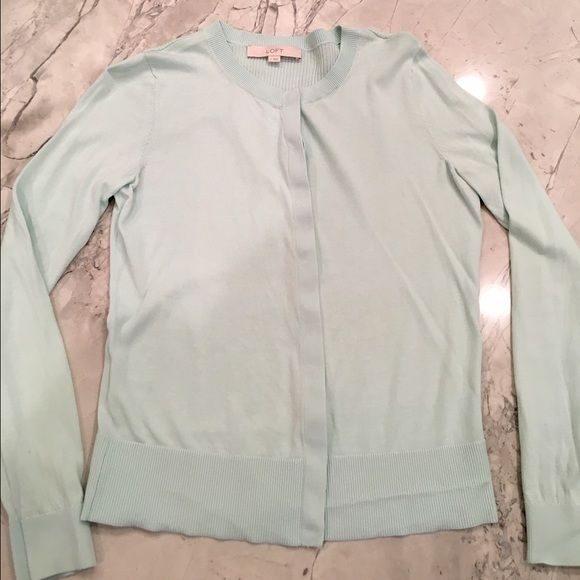 LOFT light turquoise cardigan Price negotiable ❤️ Great condition!!!! Light teal color and true to size. Cotton/nylon blend LOFT Tops Button Down Shirts