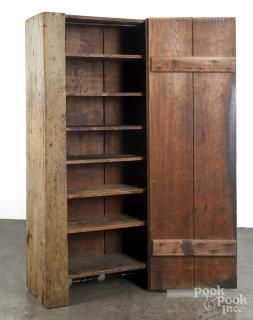 Primitive Pennsylvania painted pine canning cupboard, 19th c., retaining an old mustard surface - Price Estimate: $300 - $500