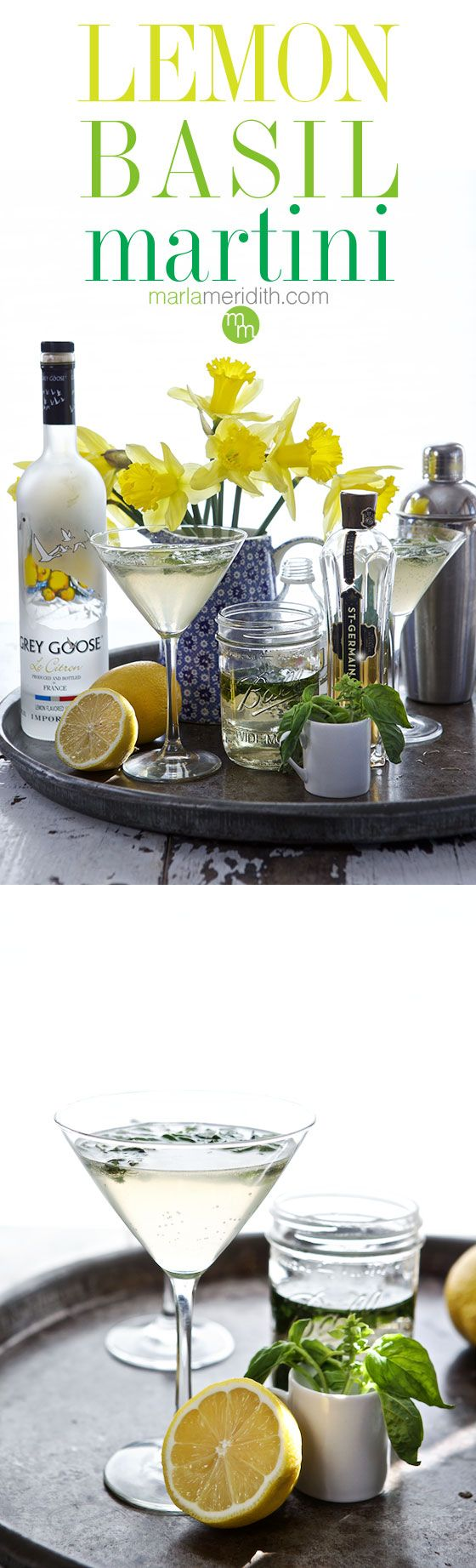 Lemon Basil Martini | A beautiful & refreshing #cocktail | MarlaMeridith.com ( @marlameridith )