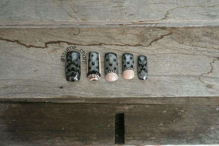 Sheer Tint Black Nail Polish with Lace Nail Art.