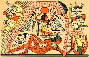 Waldorf ~ 5th grade ~ Ancient Egypt ~ Nut and Geb seperated by Shu