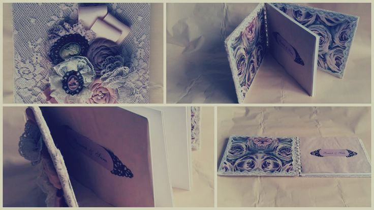 Wedding guestbook, lace, decoupage, fabric flowers