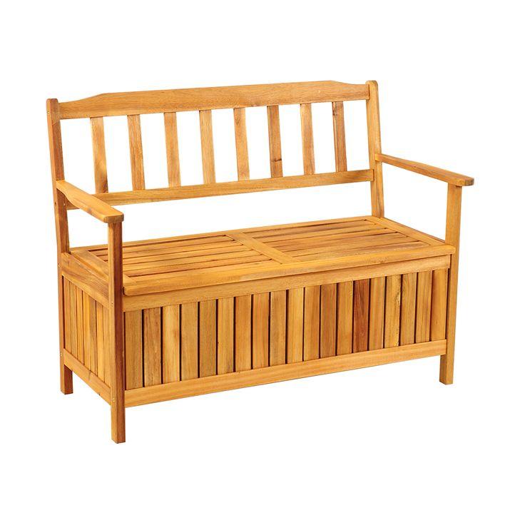 Ławka ogrodowa dla dwóch osób ze sprytnym i pojemnym schowkiem pod siedziskiem wykonana z drewna...