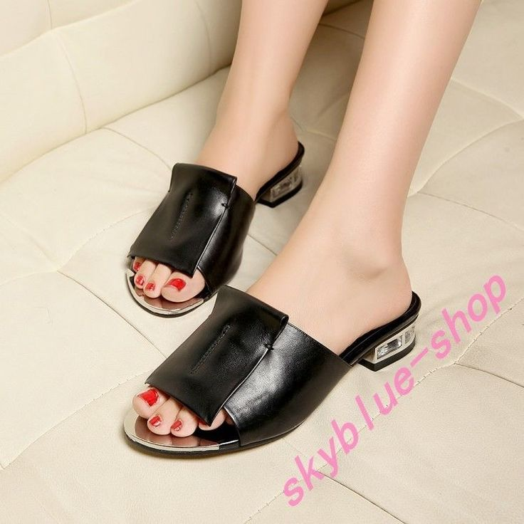 Ladies Slip On Low Heel Leather Roman Sandals Gladiator Slipper Shoes Mules 10.5