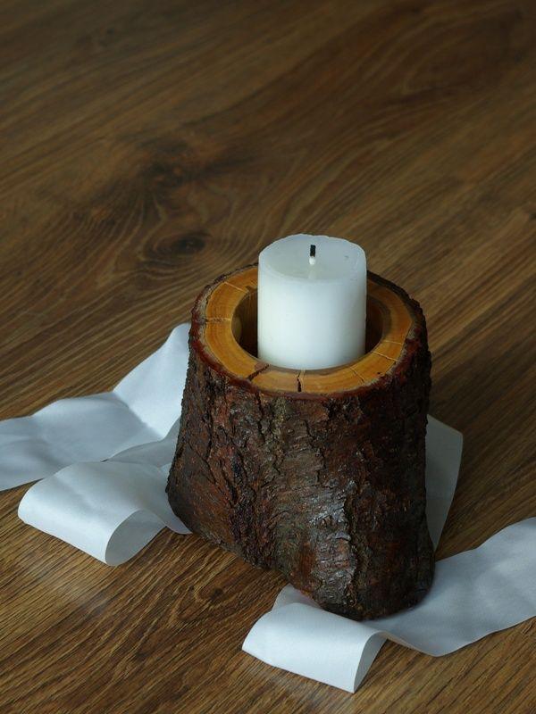 lakierowany z połyskiem odcinek gruszy - świecznik lub ozdoba, do wyboru