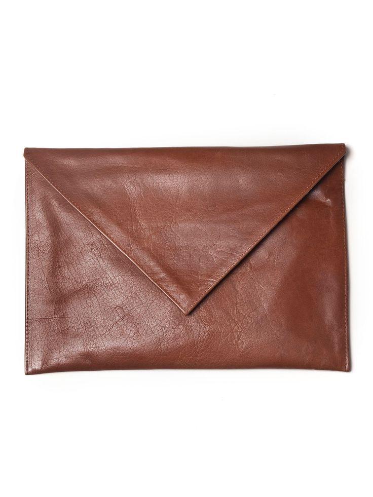 Brown leather envelope bag by Vassilis Thom