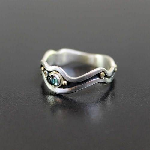 Tourmaline River Ring - unique handmade ring sterling silver and 18ct yellow gold - Abi Cochran - Silverspirals.co.uk