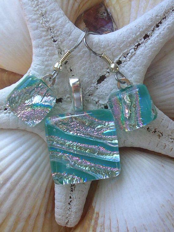 Stunning Aqua Blue Dichroic Fused Glass by RyanstonesFusedGlass, $30.00