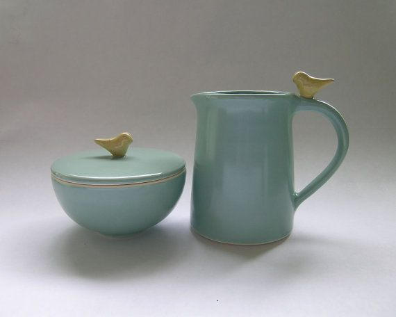 Bird Sugar Bowl and Creamer Ceramic Set in Robin Egg Blue for Entertaining, Hostess, Kitchen, Dining