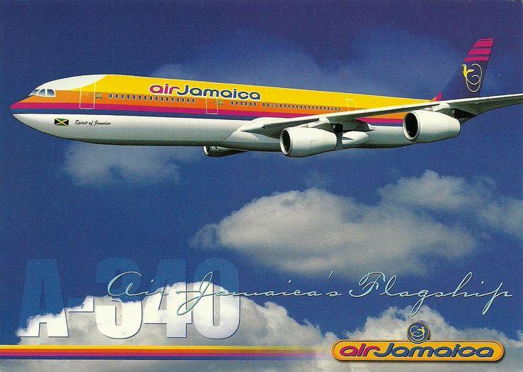 Air jamaica a 340 aircraft official postcard air jamaica avion a 340 ...