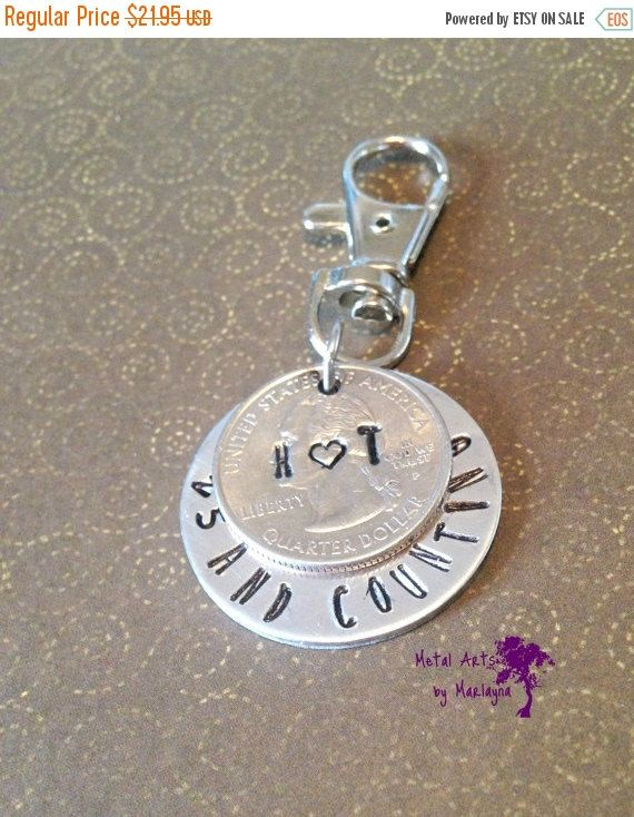 Anniversary Key Chain, 25th Anniversary Gift For Men, Quarter Jewelry, Personalized Gift, Hand Stamped, Couples Key Chains, Gifts for Him