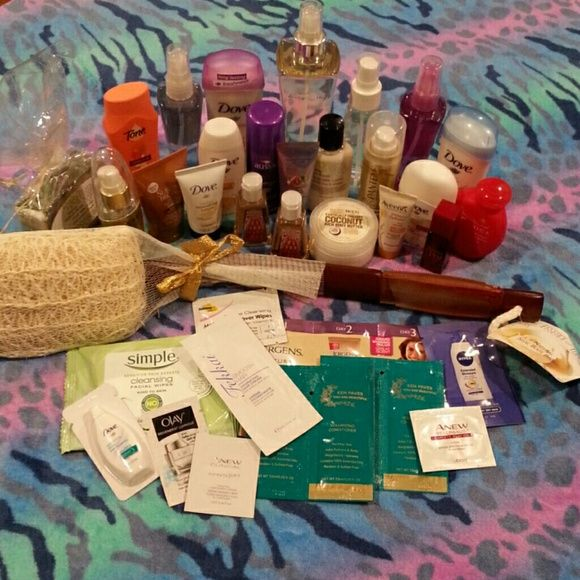 Body care bundle Bundle of 35 body care items. Includes lotions, body wash, back scrubber, deodorants, shampoo and conditioner, bronzing lotion, hair spray, soaps and more from brands like Dove, Bath and Body Works, Calgon, Aussie, Olay, Aveeno, Ken Paves and more! Travel, sample and full sized items. All new, never used! Open to offers! Bath and Body Works Makeup