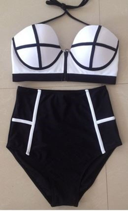 Love Black and White! Bold Colorblock Black and White Women's Colorful Backless High Waist Bikini Swimwear Fashion #Black #White #Black_and_White #ColorBlock #High_waisted #Bikini #Fashion