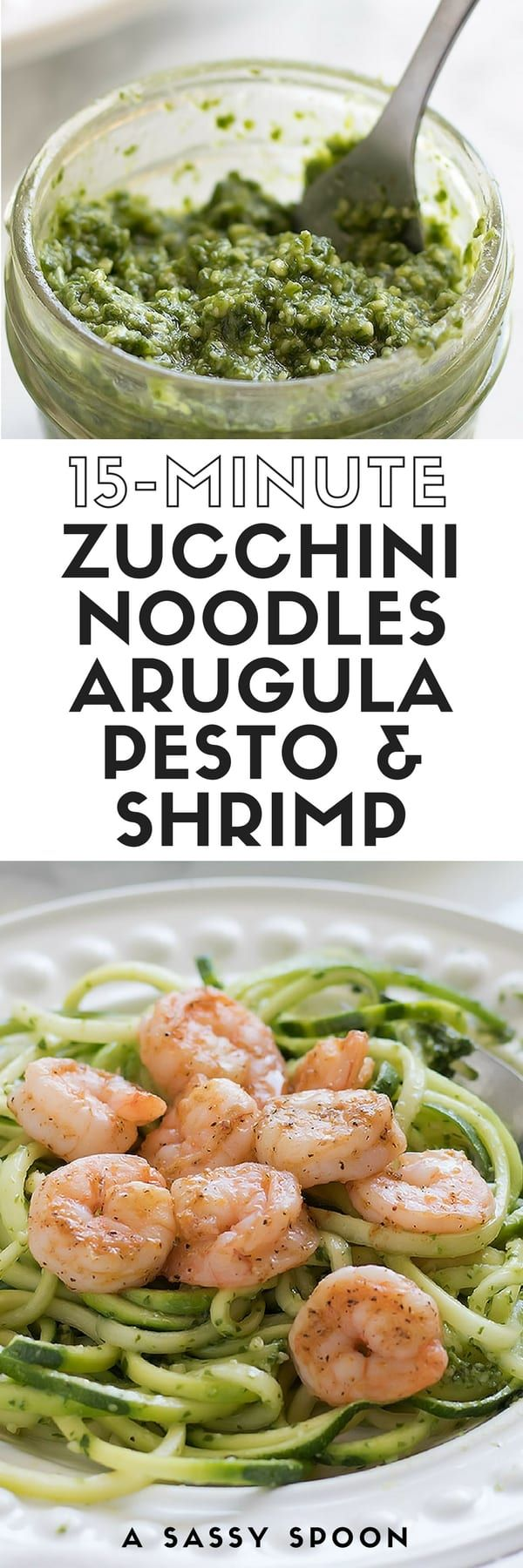 15-Minute Zucchini Noodles with Arugula Pesto + Shrimp