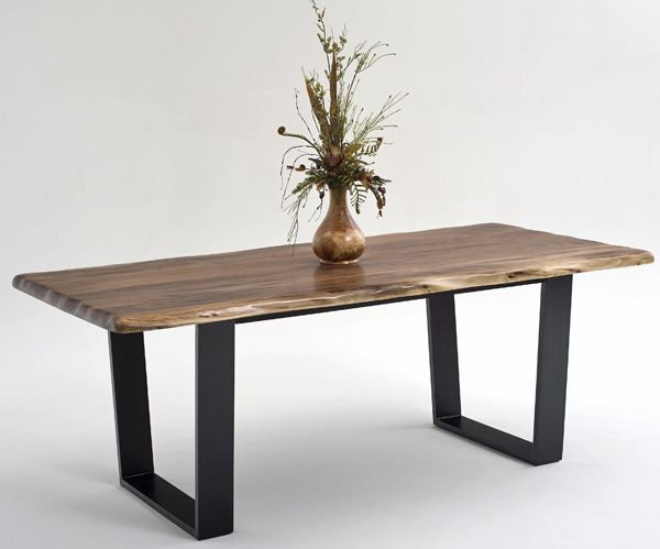 Contemporary Rustic Dining Table Made From Solid Black Walnut With An Organic Live Edge And